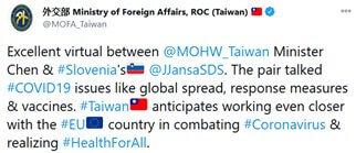 Foto: Tvit tajvanskega ministrstva za zunanje zadeve
